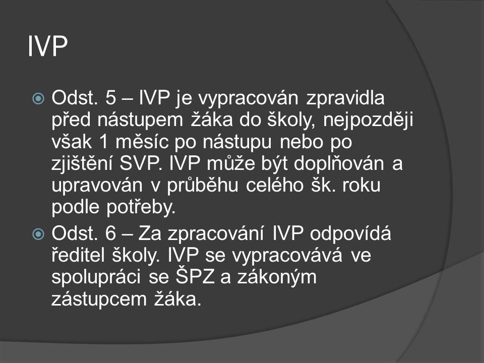 IVP  Odst. 5 – IVP je vypracován zpravidla před nástupem žáka do školy, nejpozději však 1 měsíc po nástupu nebo po zjištění SVP. IVP může být doplňov