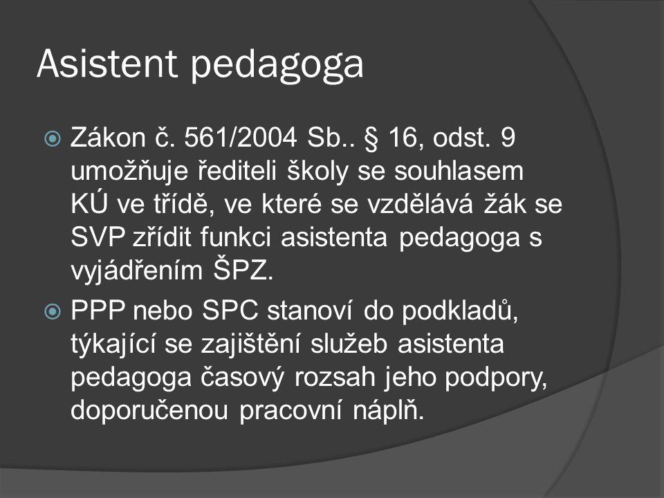 Asistent pedagoga  Zákon č. 561/2004 Sb.. § 16, odst. 9 umožňuje řediteli školy se souhlasem KÚ ve třídě, ve které se vzdělává žák se SVP zřídit funk