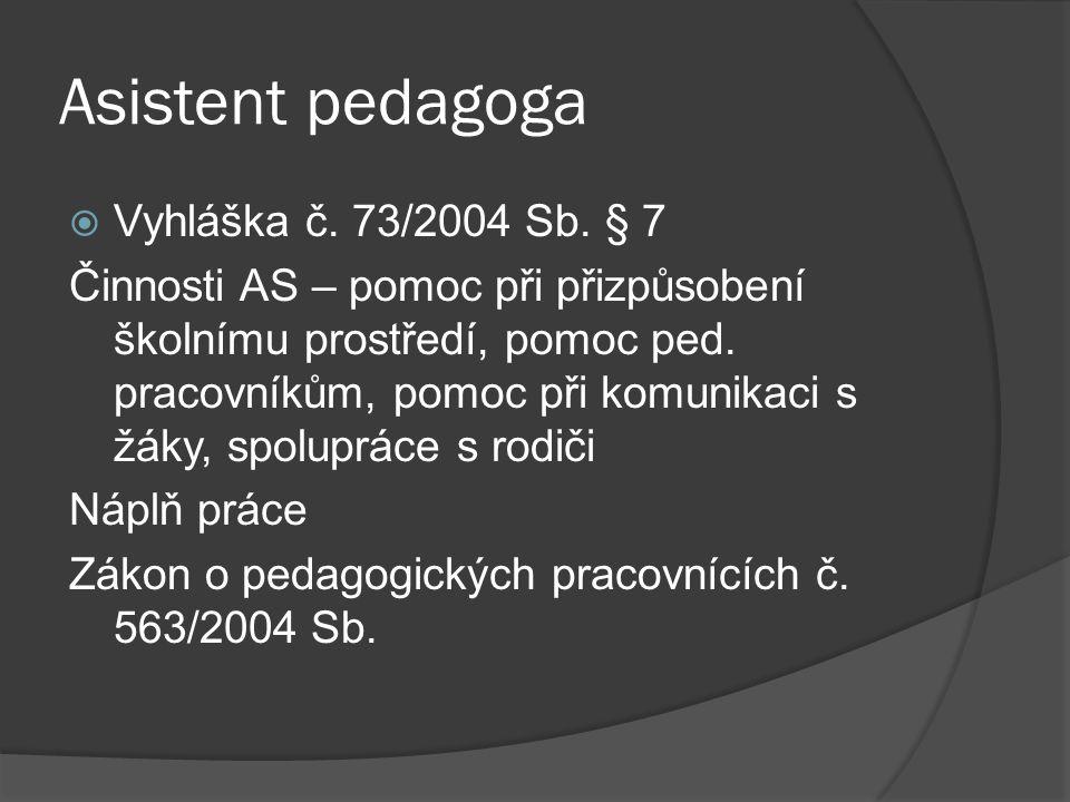 Asistent pedagoga  Vyhláška č. 73/2004 Sb. § 7 Činnosti AS – pomoc při přizpůsobení školnímu prostředí, pomoc ped. pracovníkům, pomoc při komunikaci
