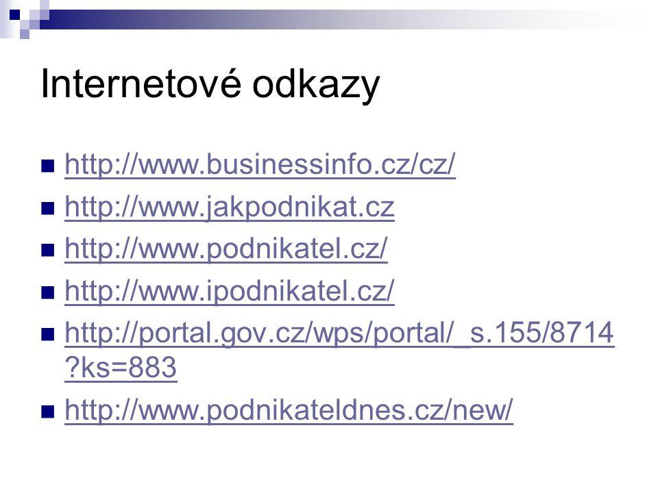 Internetové odkazy http://www.businessinfo.cz/cz/ http://www.jakpodnikat.cz http://www.podnikatel.cz/ http://www.ipodnikatel.cz/ http://portal.gov.cz/