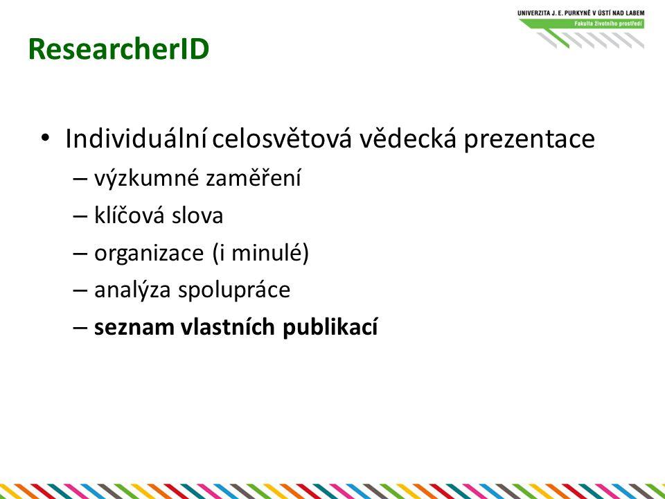 """ResearcherID Seznam vlastních publikací – evidované na WOS i ostatní (přes EndNoteWeb nebo import) – individuální veřejné citační přehledy Nově integrace do vyhledávání pro ostatní – odlišení od """"stejnojmenných autorů"""