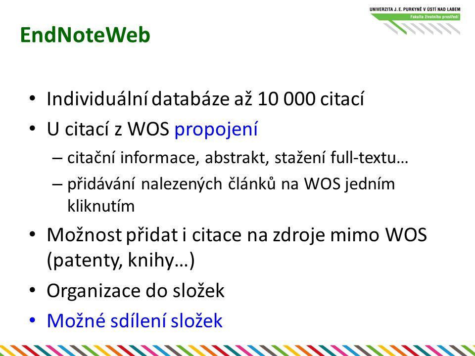 EndNoteWeb Export citací – formátovaný (bibliografie) – do komerčního citačního software – databáze – CiteWhileYouWrite