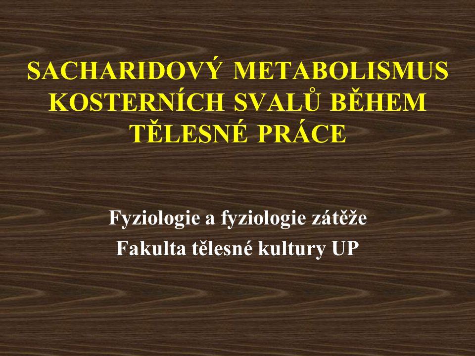 Faktory ovlivňující metabolismus sacharidů během tělesné práce Dieta –vysoký obsah sacharidů zvýšená oxidace sacharidů během práce zvýšená glykogenolýza ve svalech zvýšená spotřeba glukózy –nízký obsah sacharidů nízká oxidace sacharidů během práce snížená glykogenolýza ve svalech snížená spotřeba glukózy PŘÍČINA?