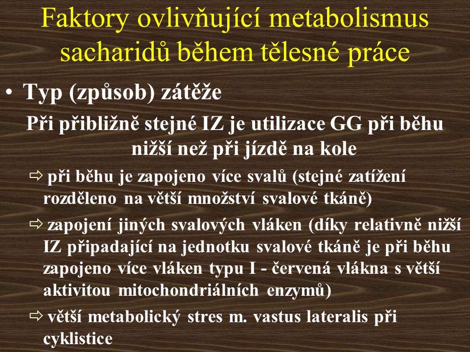 Faktory ovlivňující metabolismus sacharidů během tělesné práce Typ (způsob) zátěže Při přibližně stejné IZ je utilizace GG při běhu nižší než při jízd