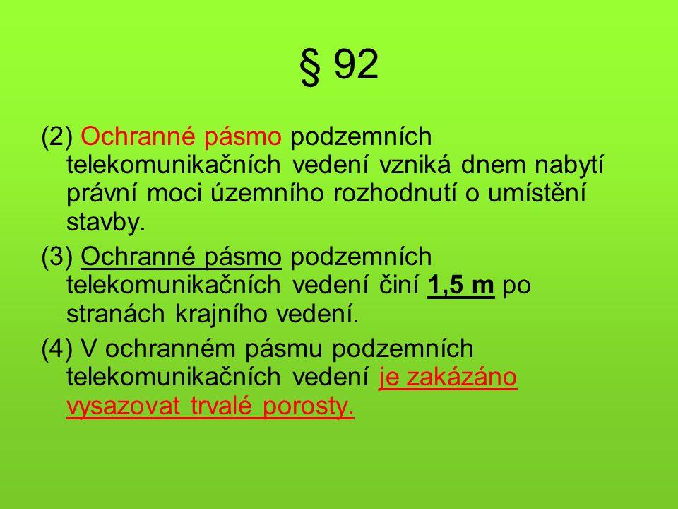 § 92 (2) Ochranné pásmo podzemních telekomunikačních vedení vzniká dnem nabytí právní moci územního rozhodnutí o umístění stavby. (3) Ochranné pásmo p