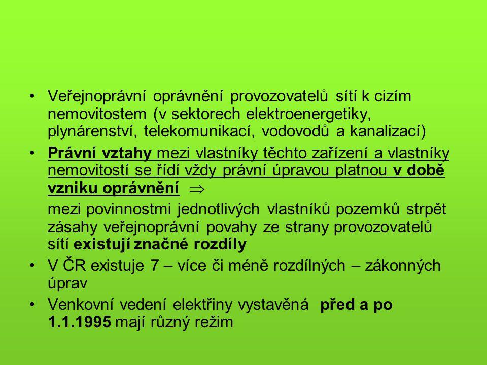 Veřejnoprávní oprávnění provozovatelů sítí k cizím nemovitostem (v sektorech elektroenergetiky, plynárenství, telekomunikací, vodovodů a kanalizací) P