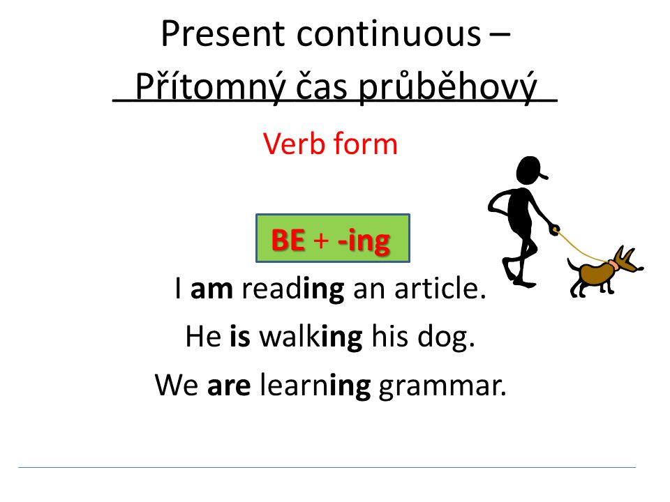 Present continuous – ______________________ Verb form BE + - -- -ing I am reading an article.