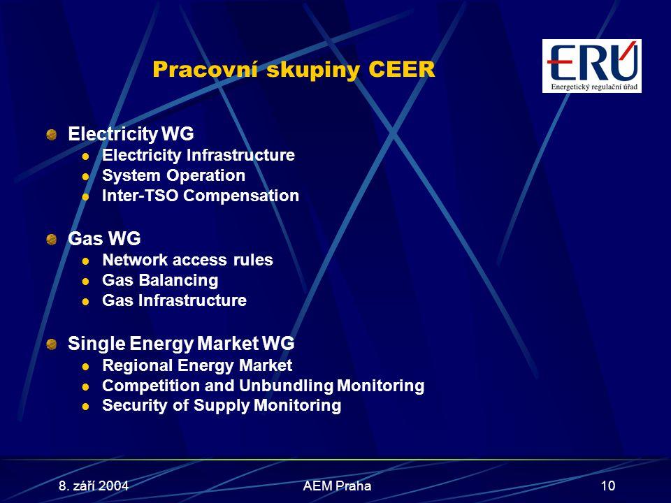8. září 2004AEM Praha10 Pracovní skupiny CEER Electricity WG Electricity Infrastructure System Operation Inter-TSO Compensation Gas WG Network access