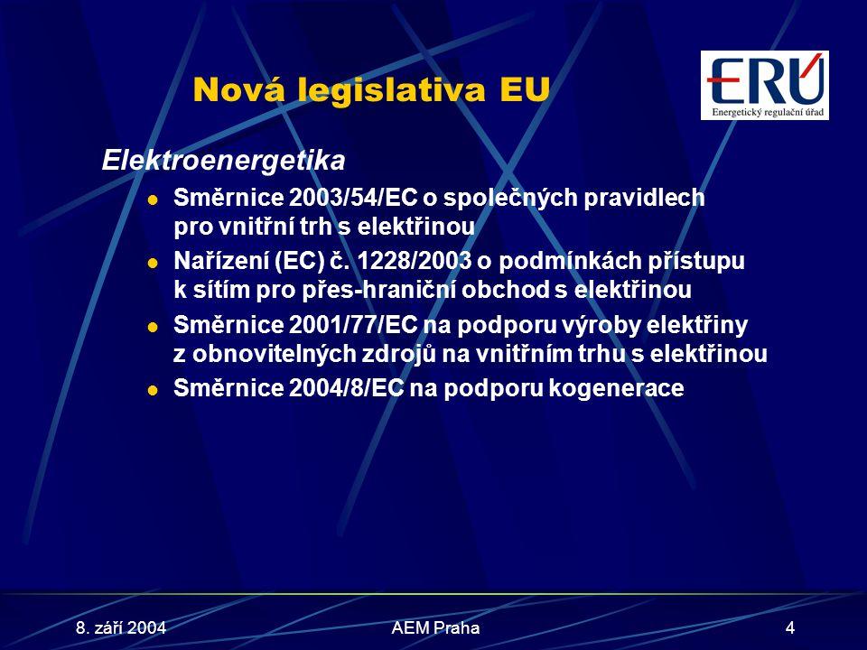 8. září 2004AEM Praha4 Nová legislativa EU Elektroenergetika Směrnice 2003/54/EC o společných pravidlech pro vnitřní trh s elektřinou Nařízení (EC) č.