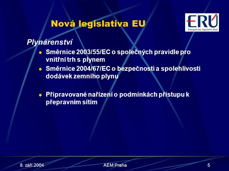 8. září 2004AEM Praha5 Nová legislativa EU Plynárenství Směrnice 2003/55/EC o společných pravidle pro vnitřní trh s plynem Směrnice 2004/67/EC o bezpe