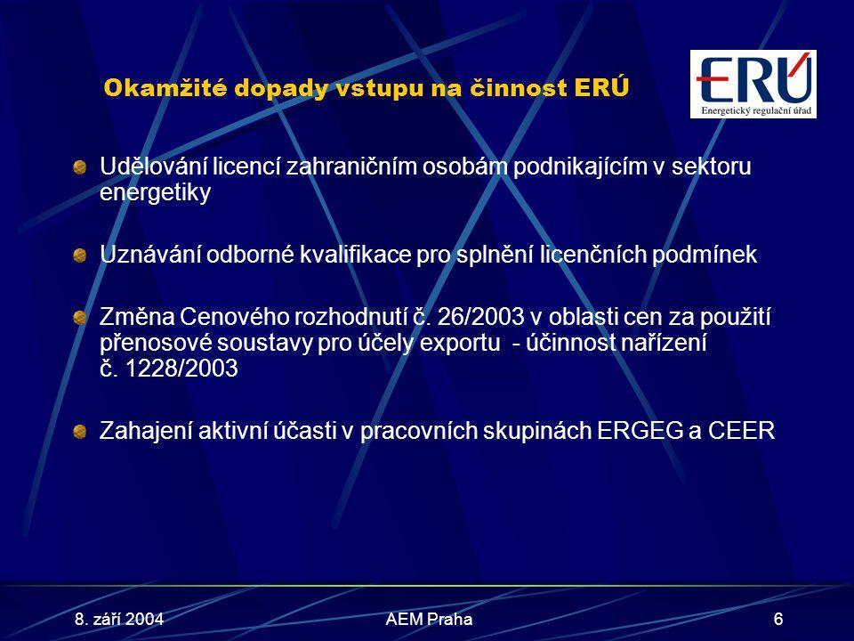 8. září 2004AEM Praha6 Okamžité dopady vstupu na činnost ERÚ Udělování licencí zahraničním osobám podnikajícím v sektoru energetiky Uznávání odborné k