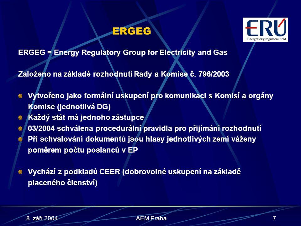 8. září 2004AEM Praha7 ERGEG ERGEG = Energy Regulatory Group for Electricity and Gas Založeno na základě rozhodnutí Rady a Komise č. 796/2003 Vytvořen