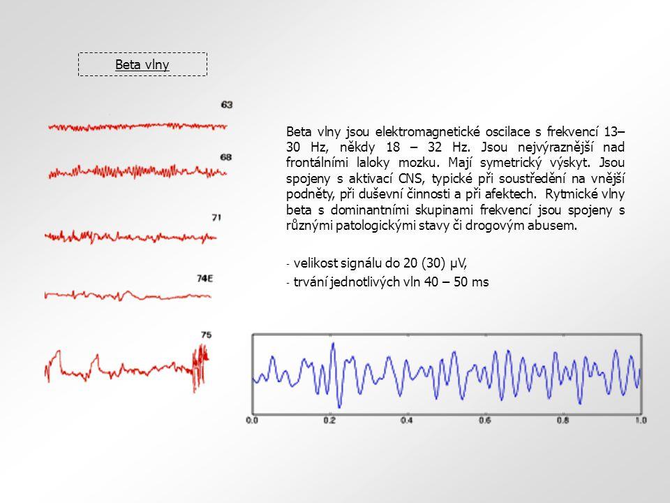 Beta vlny Beta vlny jsou elektromagnetické oscilace s frekvencí 13– 30 Hz, někdy 18 – 32 Hz. Jsou nejvýraznější nad frontálními laloky mozku. Mají sym