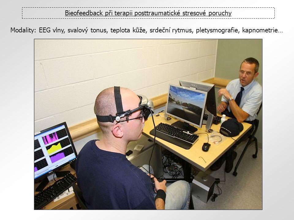 Bieofeedback při terapii posttraumatické stresové poruchy Modality: EEG vlny, svalový tonus, teplota kůže, srdeční rytmus, pletysmografie, kapnometrie
