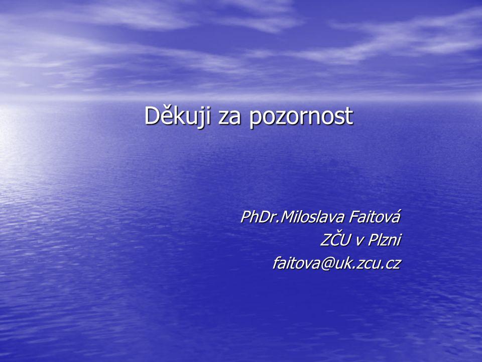 Děkuji za pozornost PhDr.Miloslava Faitová ZČU v Plzni faitova@uk.zcu.cz