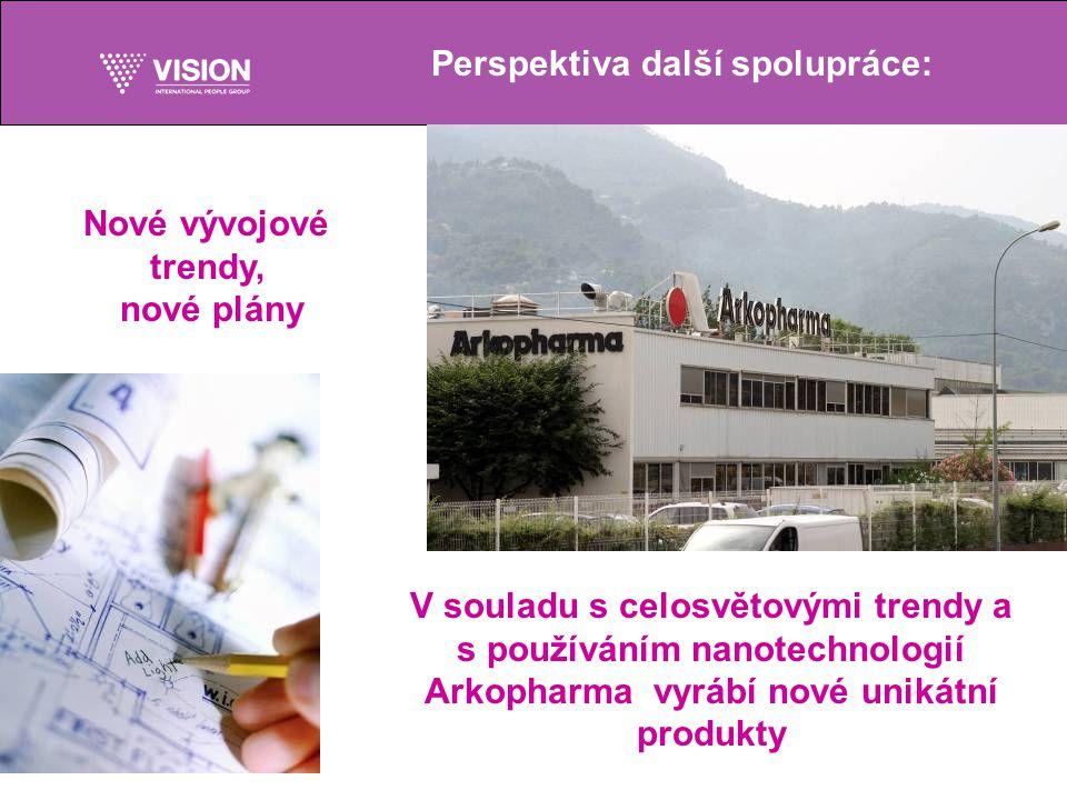 Perspektiva další spolupráce: V souladu s celosvětovými trendy a s používáním nanotechnologií Arkopharma vyrábí nové unikátní produkty Nové vývojové trendy, nové plány