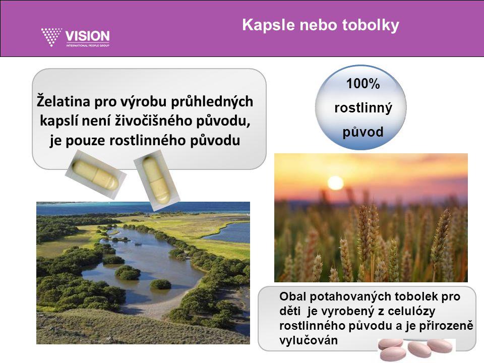 Kapsle nebo tobolky 100% rostlinný původ Želatina pro výrobu průhledných kapslí není živočišného původu, je pouze rostlinného původu Obal potahovaných tobolek pro děti je vyrobený z celulózy rostlinného původu a je přirozeně vylučován
