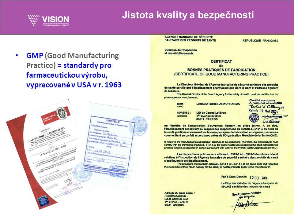 GMP (Good Manufacturing Practice) = standardy pro farmaceutickou výrobu, vypracované v USA v r.