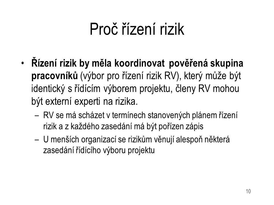 10 Proč řízení rizik Řízení rizik by měla koordinovat pověřená skupina pracovníků (výbor pro řízení rizik RV), který může být identický s řídícím výbo