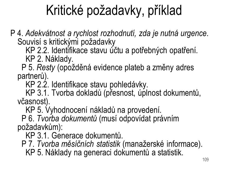 109 Kritické požadavky, příklad P 4. Adekvátnost a rychlost rozhodnutí, zda je nutná urgence. Souvisí s kritickými požadavky KP 2.2. Identifikace stav
