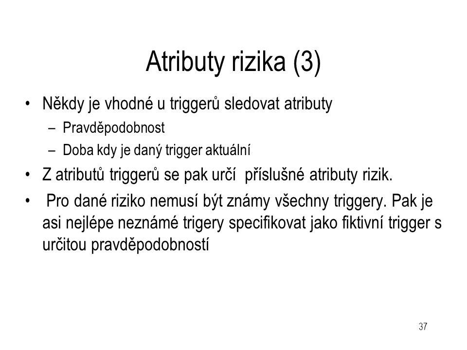37 Atributy rizika (3) Někdy je vhodné u triggerů sledovat atributy –Pravděpodobnost –Doba kdy je daný trigger aktuální Z atributů triggerů se pak urč