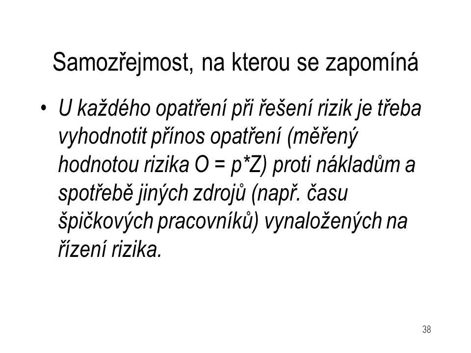 38 Samozřejmost, na kterou se zapomíná U každého opatření při řešení rizik je třeba vyhodnotit přínos opatření (měřený hodnotou rizika O = p*Z) proti