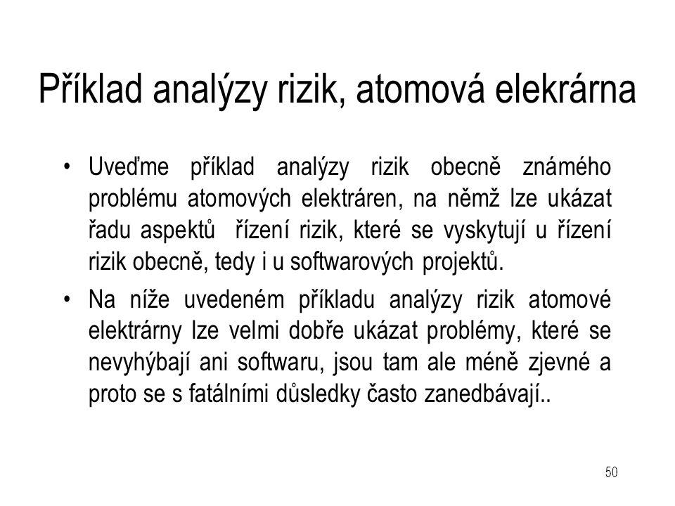 50 Příklad analýzy rizik, atomová elekrárna Uveďme příklad analýzy rizik obecně známého problému atomových elektráren, na němž lze ukázat řadu aspektů