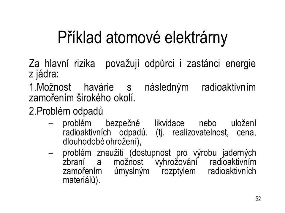 52 Příklad atomové elektrárny Za hlavní rizika považují odpůrci i zastánci energie z jádra: 1.Možnost havárie s následným radioaktivním zamořením širo