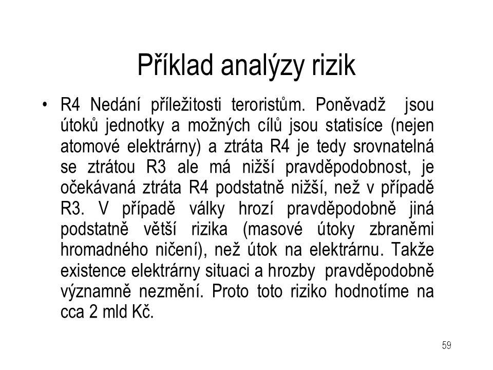 59 Příklad analýzy rizik R4 Nedání příležitosti teroristům. Poněvadž jsou útoků jednotky a možných cílů jsou statisíce (nejen atomové elektrárny) a zt