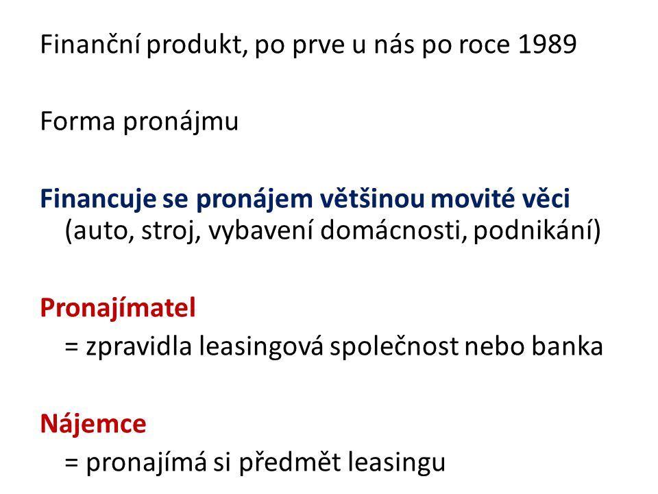 Finanční produkt, po prve u nás po roce 1989 Forma pronájmu Financuje se pronájem většinou movité věci (auto, stroj, vybavení domácnosti, podnikání) Pronajímatel = zpravidla leasingová společnost nebo banka Nájemce = pronajímá si předmět leasingu