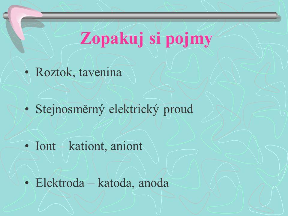 Zopakuj si pojmy Roztok, tavenina Stejnosměrný elektrický proud Iont – kationt, aniont Elektroda – katoda, anoda