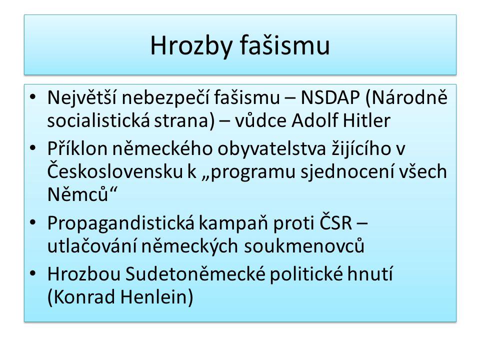 Hrozby fašismu Největší nebezpečí fašismu – NSDAP (Národně socialistická strana) – vůdce Adolf Hitler Příklon německého obyvatelstva žijícího v Českos