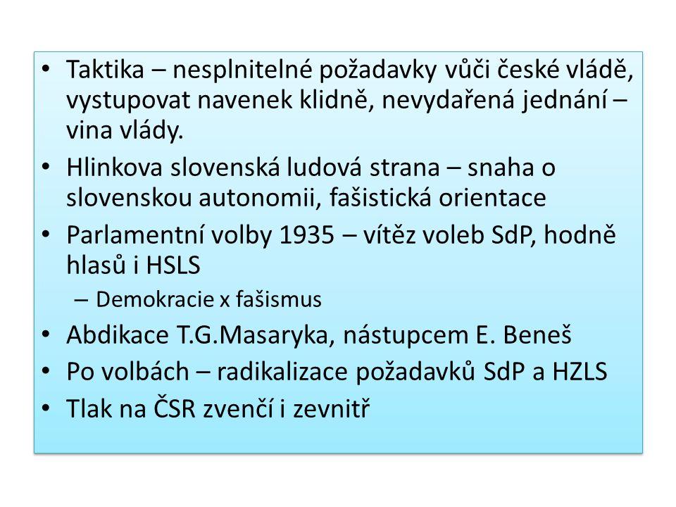 Taktika – nesplnitelné požadavky vůči české vládě, vystupovat navenek klidně, nevydařená jednání – vina vlády. Hlinkova slovenská ludová strana – snah