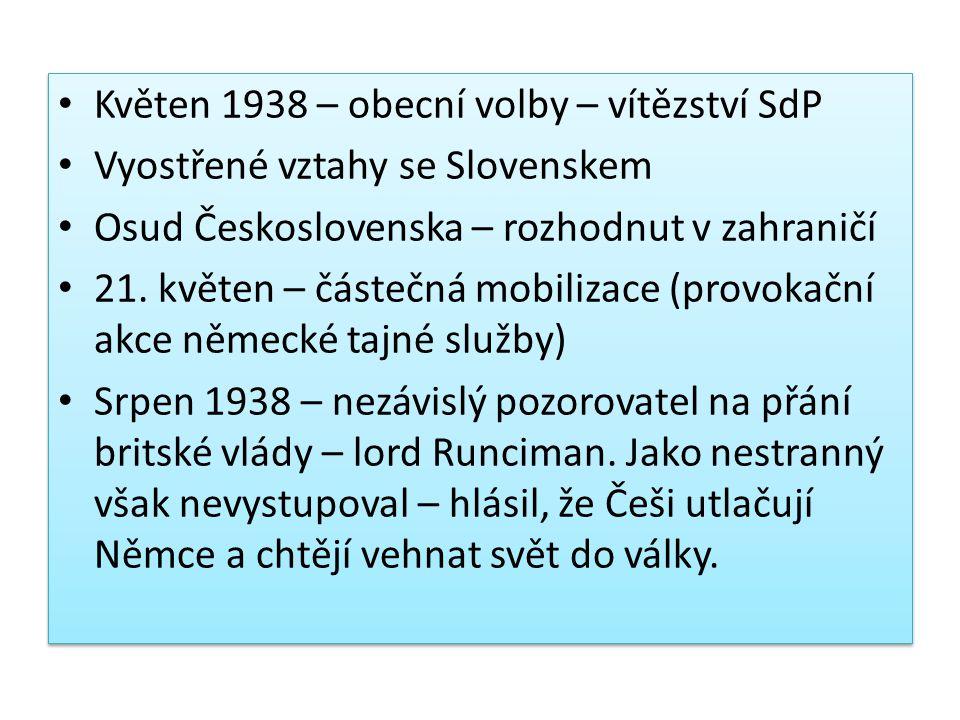 Květen 1938 – obecní volby – vítězství SdP Vyostřené vztahy se Slovenskem Osud Československa – rozhodnut v zahraničí 21. květen – částečná mobilizace