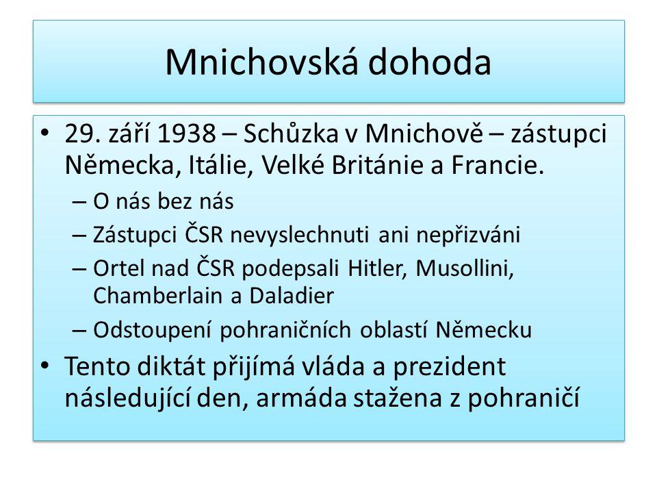 Mnichovská dohoda 29. září 1938 – Schůzka v Mnichově – zástupci Německa, Itálie, Velké Británie a Francie. – O nás bez nás – Zástupci ČSR nevyslechnut
