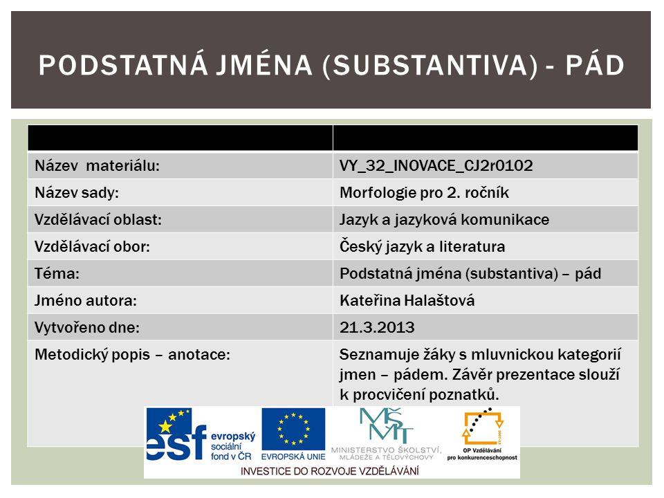 Název materiálu:VY_32_INOVACE_CJ2r0102 Název sady:Morfologie pro 2. ročník Vzdělávací oblast:Jazyk a jazyková komunikace Vzdělávací obor:Český jazyk a