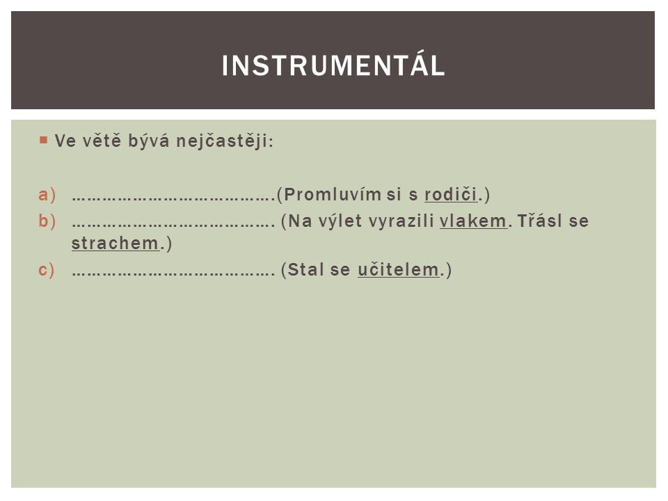  Ve větě bývá nejčastěji: a)………………………………….(Promluvím si s rodiči.) b)………………………………….