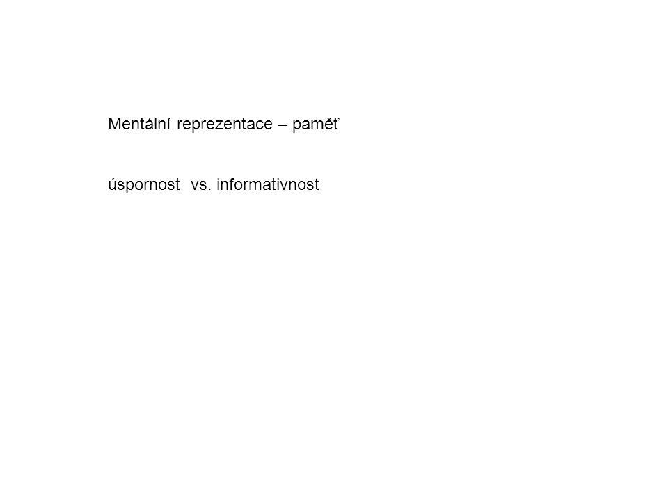 Mentální reprezentace – paměť úspornost vs. informativnost