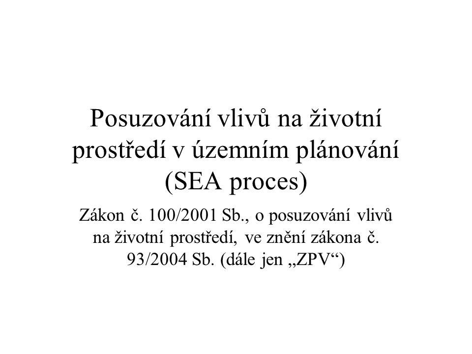 Posuzování vlivů na životní prostředí v územním plánování (SEA proces) Zákon č.