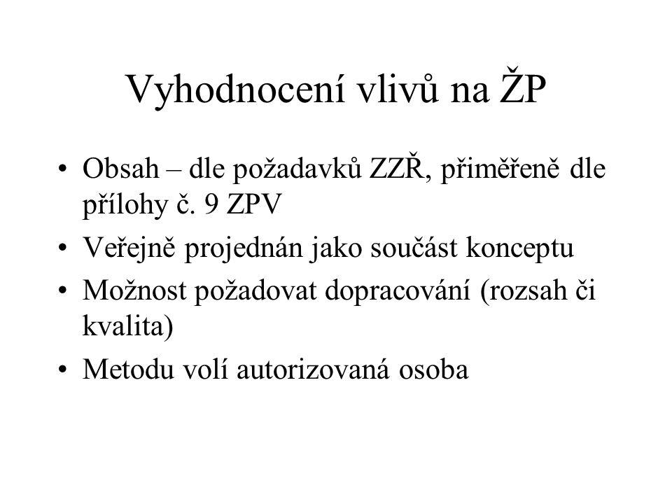 Vyhodnocení vlivů na ŽP Obsah – dle požadavků ZZŘ, přiměřeně dle přílohy č.