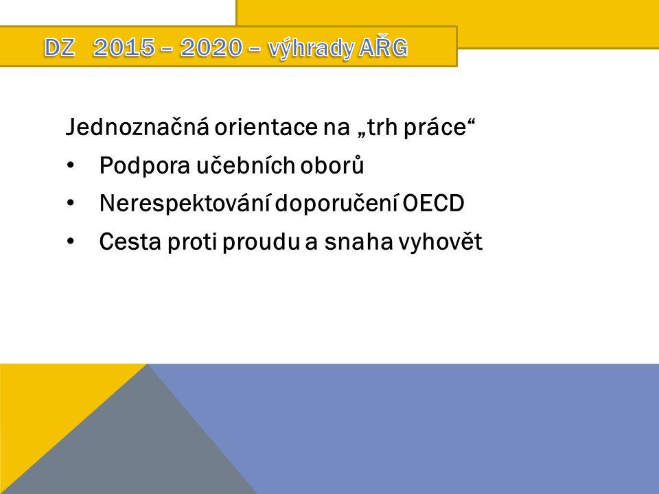 """Jednoznačná orientace na """"trh práce"""" Podpora učebních oborů Nerespektování doporučení OECD Cesta proti proudu a snaha vyhovět"""