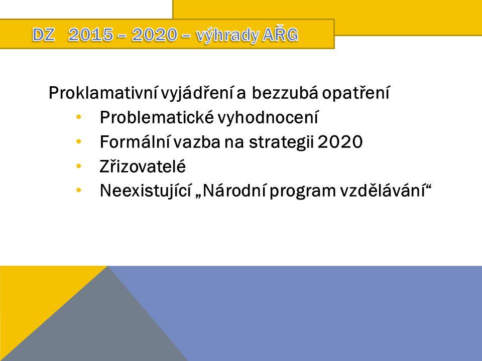 """Proklamativní vyjádření a bezzubá opatření Problematické vyhodnocení Formální vazba na strategii 2020 Zřizovatelé Neexistující """"Národní program vzdělávání"""