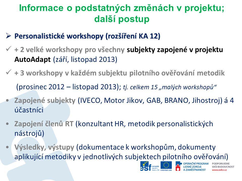 Informace o podstatných změnách v projektu; další postup  Personalistické workshopy (rozšíření KA 12) + 2 velké workshopy pro všechny subjekty zapojené v projektu AutoAdapt (září, listopad 2013) + 3 workshopy v každém subjektu pilotního ověřování metodik (prosinec 2012 – listopad 2013); tj.