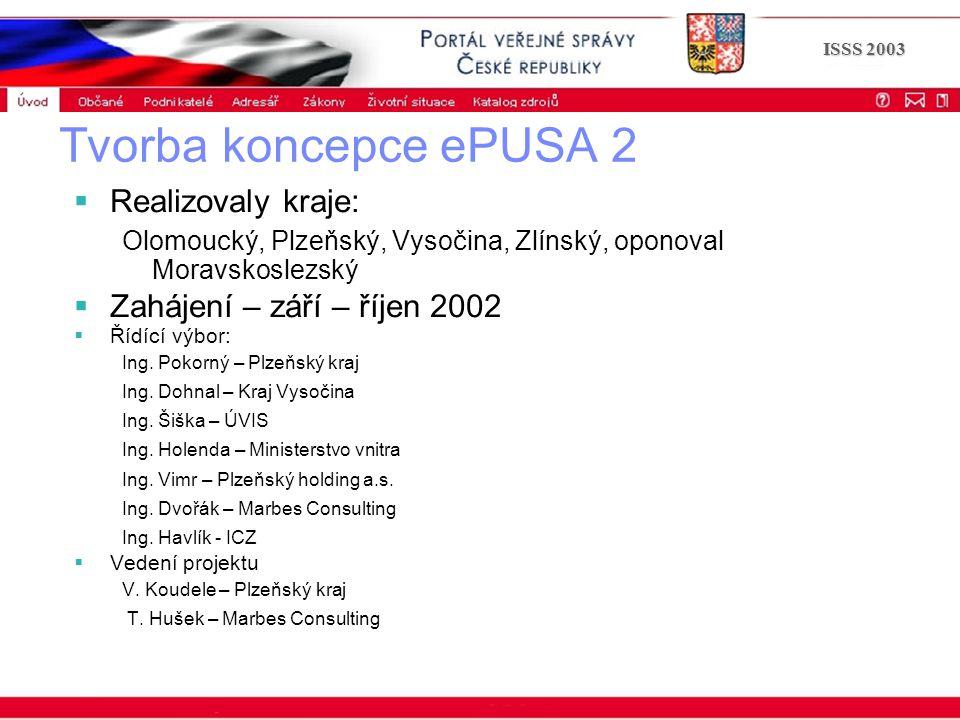 Portál veřejné správy © 2002 IBM Corporation ISSS 2003 Tvorba koncepce ePUSA 2  Realizovaly kraje: Olomoucký, Plzeňský, Vysočina, Zlínský, oponoval Moravskoslezský  Zahájení – září – říjen 2002  Řídící výbor: Ing.
