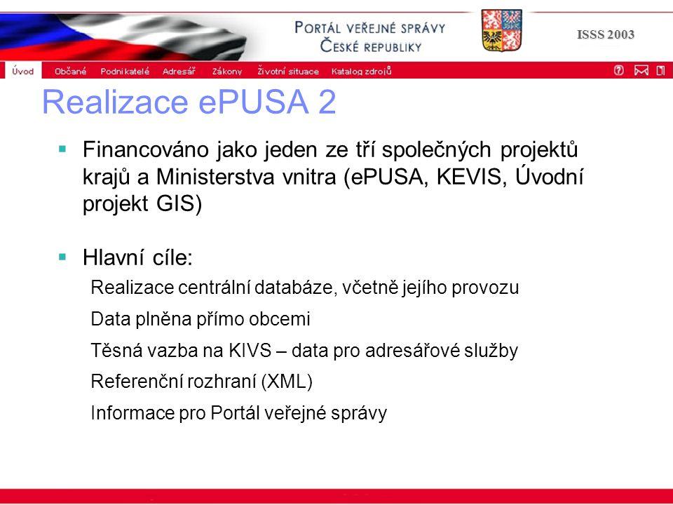 Portál veřejné správy © 2002 IBM Corporation ISSS 2003 Realizace ePUSA 2  Financováno jako jeden ze tří společných projektů krajů a Ministerstva vnitra (ePUSA, KEVIS, Úvodní projekt GIS)  Hlavní cíle: Realizace centrální databáze, včetně jejího provozu Data plněna přímo obcemi Těsná vazba na KIVS – data pro adresářové služby Referenční rozhraní (XML) Informace pro Portál veřejné správy