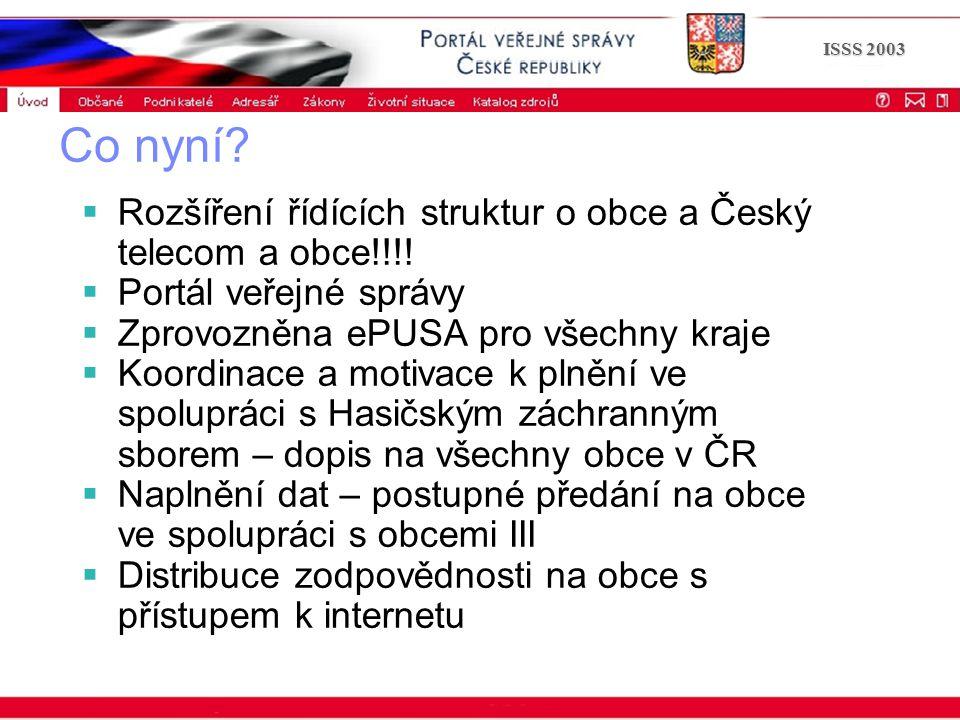 Portál veřejné správy © 2002 IBM Corporation ISSS 2003 Co nyní.
