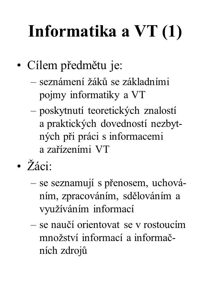 Informatika a VT - Obsah učiva (6) 6.