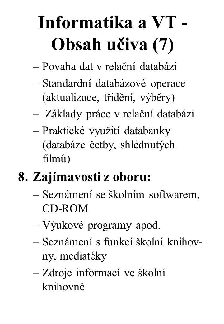 Informatika a VT - Obsah učiva (7) –Povaha dat v relační databázi –Standardní databázové operace (aktualizace, třídění, výběry) – Základy práce v relační databázi –Praktické využití databanky (databáze četby, shlédnutých filmů) 8.