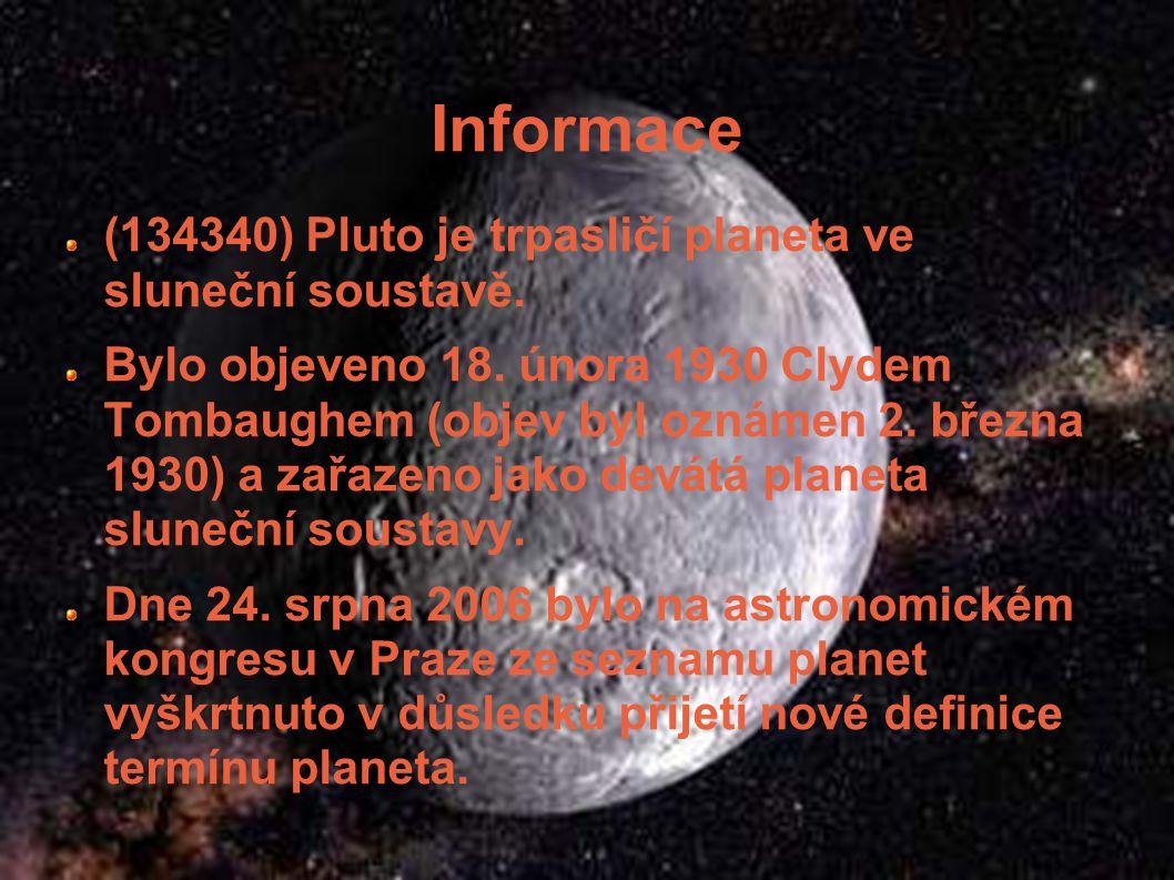 Základní údaje Vzdálenost od Slunce: 39,24 AU 5 921,4 mil. km Délka dne: 6 dnů Délka roku: 249,2 let Průměr: 2 274 km Gravitace: 0,69 m/s 2 Povrchová