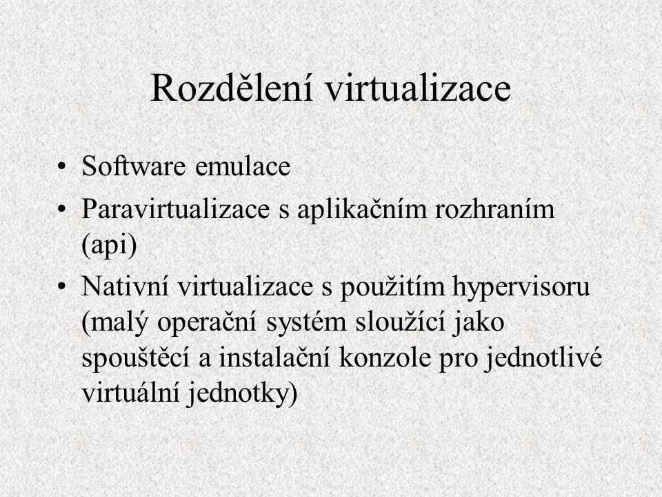 Rozdělení virtualizace Software emulace Paravirtualizace s aplikačním rozhraním (api) Nativní virtualizace s použitím hypervisoru (malý operační systé